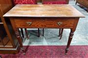 Sale 8939 - Lot 1094 - Late 19th Century Pitch Pine Side Table, with a long drawer & turned legs. H: 76, W: 82, D: 46cm