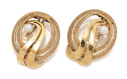 Sale 9099 - Lot 135 - A pair of 14ct yellow gold open double ring round clip-on earrings; each set with one 3.7mm round pearl. Total weight: 7.1 grams,...