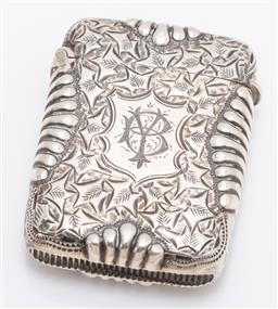 Sale 9180E - Lot 8 - A Victorian hallmarked sterling silver vesta with ribbed design to sides, Birmingham, c. 1886, by P&S, weight 24g