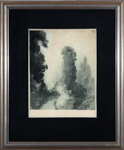 Sale 9190W - Lot 100 - Norman Lindsay - Tryst in Arcadia 33x27cm