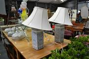 Sale 8019 - Lot 1061 - Pair Ceramic Table Lamps w Shade