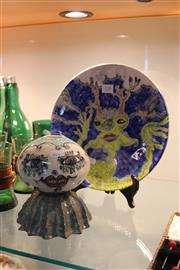 Sale 8189 - Lot 108 - Jenny Orchard Plate & an Australian Abstract Vase