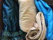 Sale 8310A - Lot 344 - Four large table cloths, velvet and satin, in gold, teal and blue tones