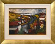 Sale 8408 - Lot 545 - George Feather Lawrence (1901 - 1981) - Lake Town 38 x 53cm