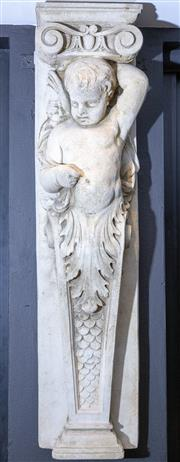 Sale 8568A - Lot 130 - A composite caryatid wall ornament of a cherub on a scale pilaster, H 128cm