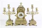 Sale 8849 - Lot 6 - A Brass Clock with Handpainted Porcelain Face Together with Pair of Garnitures (H 36cm)