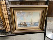 Sale 8914 - Lot 2056 - William Golding - Sailboat Mooring, oil on board, 37 x 44 cm, signed lower right