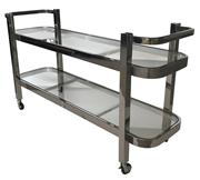 Sale 8957T - Lot 87 - Art Deco Styled Drinks Service Cart in  Stainless Steel with Clear Glass Shelves. W140 x D45 x H78