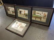 Sale 8973 - Lot 2075 - Set of (4) Decorative Prints After L Thackerys Billiard Series, 68 x 55cm (frames) -
