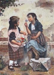 Sale 9009A - Lot 5061 - After A. Claudie - Children with Flowers 39 x 28.5 cm (frame: 55 x 45 x 4 cm)