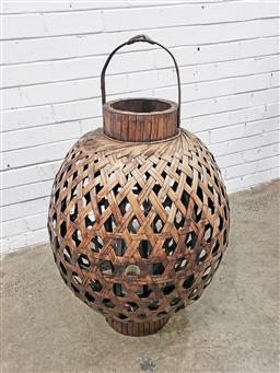 Sale 9102 - Lot 1136 - Oversized Cane Carry Lantern with glass candle holder,