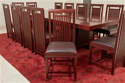Sale 9120K - Lot 32 - Frank lloyd Wright for Cassina, A set of fourteen Coonley 2  dining chairs, designed in 1907, with chocolate brown leather seats. (c...