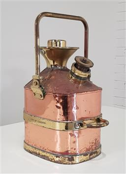Sale 9188 - Lot 1458 - Vintage copper and brass jerry can (h:39cm)