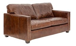 Sale 9250T - Lot 10 - A top grain original leather 2 seater sofa with silver studs and feather/foam seat cushions. Height 90cm x Width 170cm x Depth 98cm