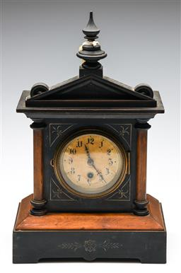 Sale 9253 - Lot 295 - A timber cased mantle clock with painted highlights - UNTESTED - with key
