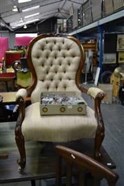 Sale 8035 - Lot 1016 - Victorian Grandfather And Grandmother Chairs