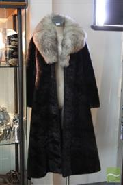 Sale 8173F - Lot 401 - A VINTAGE SEAL AND FOX FOR COAT; Stephan Dattner with leather belt and blue fox collar (S).