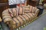 Sale 8326 - Lot 1638 - Fabric 3 Seater Lounge with Regency Style Cushions