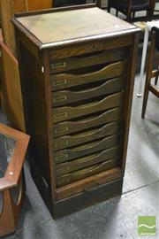 Sale 8364 - Lot 1002 - Early Oak Office Filing Cabinet with Tambour Shutter