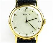 Sale 8402W - Lot 40 - ZENITH 18CT GOLD WRISTWATCH; cream dial with even Arabic numerals, centre seconds on a gilt 15 jewell cal. 106. P-5 manual movement...