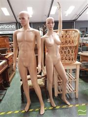 Sale 8424 - Lot 1094 - Plastic Male & Female Mannequin on Stands
