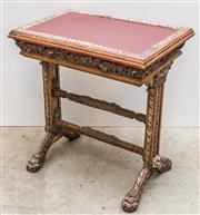 Sale 8516A - Lot 55 - An early French Renaissance style desk / console table, intricately detailed, featuring an early paint finish, flanked by ornate ped...