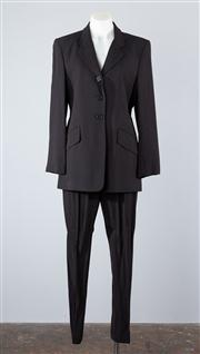 Sale 8685F - Lot 60 - A Jones New York rayon/ wool blend pinstriped suit to include matching jacket (US 6) and pants (US 4)