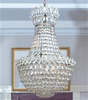 Sale 8960J - Lot 24 - An Antique cut-glass basket shaped chandelier with rosette cut discs and three pendants, in working order, height approx. 60cm