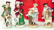 Sale 9066H - Lot 74 - Two pairs of Meissen style figural groups of music and animal lovers of typical design. Height of tallest 19cm