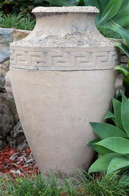 Sale 9162H - Lot 1 - A large sandstone twin handled vase with greek key border, height 76cm