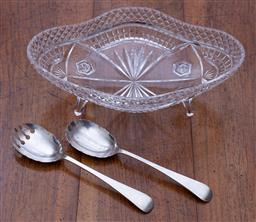 Sale 9190H - Lot 121 - A large oval hand cut lead crystal serving bowl raised on 4 feet with a pair of James Dixon silverplate Chippendale pattern servers