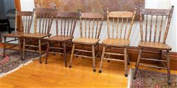 Sale 9260M - Lot 8 - A matched set of six spindle back chairs, all of slightly varying proportions, each with the same Australian themed pressed backs de...