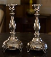 Sale 7981B - Lot 40 - A pair of Hallmarked silver tall candle sticks.C. Early 1900's