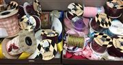 Sale 8310A - Lot 346 - Three boxes of various coloured ribbons and fabric roses and butterflies