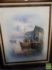 Sale 8513 - Lot 2091 - Simpson, A, Fishing Boats Framed Acrylic on Canvas SLL