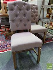 Sale 8550 - Lot 1277 - Set of 6 Latte Upholstered Dining Chairs