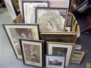 Sale 8557 - Lot 2024 - Collection of 19th Century Artworks Including: Chromolithographs, Needlework & Original Paintings, various sizes (box not included)