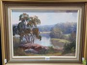 Sale 8587 - Lot 2086 - Sadie Wiggins - Shoalhaven River Nowra, 1989, oil on canvas board, 29 x 39cm, signed lower left