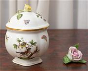 Sale 8630A - Lot 79 - A Herend lidded pot with typical decoration and yellow rose finial, H 16cm, together with a Herend rose