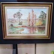 Sale 8636 - Lot 2037 - Lilian Roeder - Autumn At Cowra oil on canvas on board, 49.5 x 75cm, signed lower right