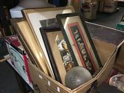 Sale 8659 - Lot 2436 - Box of Prints, Frames & Mixed Media Works, 2 Glass Shades, a Bathroom Light Fitting & 2 Wooden Dolls