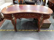 Sale 8688 - Lot 1083 - Heavily Inlaid Desk with Leather Top Ornate Figural Ormolu Mounts & Three Drawers