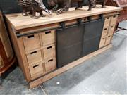 Sale 8740 - Lot 1004 - Modern Industrial Style Entertainment Unit with Sliding Front