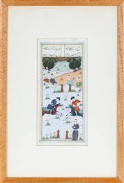 Sale 8770 - Lot 44 - An Indo-Persian miniature painting of Polo players, 21cm x 10cm