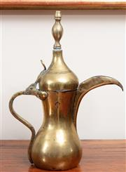 Sale 8868H - Lot 32 - An antique brass Turkish coffee pot of typical form, Height 35cm