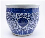 Sale 8940J - Lot 52 - A large blue and white jardiniere in the Chinese manner with all over foliate design,  height 39, diameter 46cm
