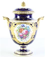 Sale 8989 - Lot 90 - Royal Crown Derby Twin Handled Lidded Urn, with Floral & Gilt Wreath Design, Signed A. Gregory (H36cm)