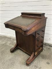 Sale 9068 - Lot 1015 - Bur Walnut Victorian Inlaid Walnut Davenport, with hinged stationery compartment, leather writing slope with fitted interior & four dra