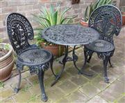 Sale 9070H - Lot 6 - A black painted aluminium outdoor tale and two chairs, Height 63cm x Diameter 67cm
