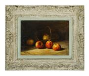Sale 9087H - Lot 23 - Frederic Sauvignier 1873-1949 French 'nature morte' oil on canvas signed 33 x 46 cm in a large carved French frame